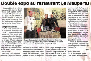 """Article sur l'exposition au restaurant """"Le Maupertu"""""""